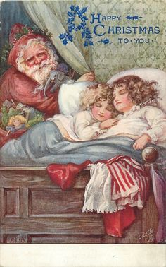 A HAPPY CHRISTMAS TO YOU  two girls in bed, purple suited Santa with toys back left