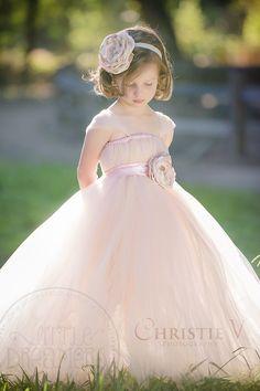 BLUSH TUTU DRESS with FLOWER SASH (Blush VI) | Little Dreamers