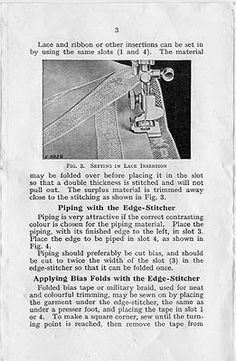 Singer Featherweight 221 or Edge-Stitcher is a very useful attachment for sewing together laces, rick rack braids and more - fits all low shank machines. Featherweight Sewing Machine, Vintage Sewing Machines, Quilt Patterns, Quilting Ideas, Clothing Patterns, Singer, Embroidery, Quilts, Stitch