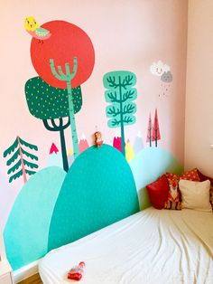 Wall painting that I did for my daughters second birthday.  #kinderzimmer #kids room #wall paiting
