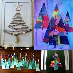Some great ideas for Christmas activities in art. Particularly love the driftwood trees, and tissue paper trees.
