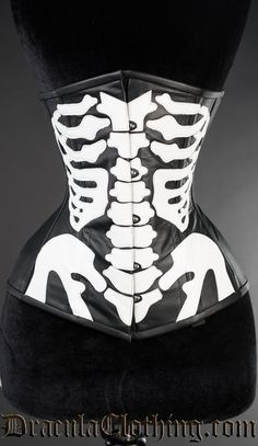 <p>A real leather skeleton corset with a ribcage motif.</p><br />  <p>To find your corset size subtract 2-6 inches from your natural waist.</p>