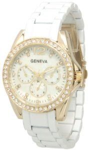 056 Geneva White Gold Boyfriend Chronograph Ladies Boyfriend Watch,