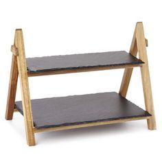 Artesa 2stöckiger Servierständer aus Holz mit Schieferplatten, faltbar