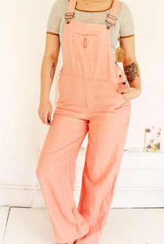 Vintage Salmon Linen Overalls by Clementinesvintageco on Etsy