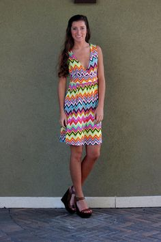 Bright, crazy, colorful, chevron stripe dress! What's not to love!