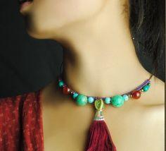Vintage Style Turquoise Pendant Necklace