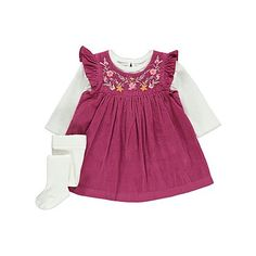 3 Piece Corduroy Dress, Top and Tights Set | Baby | George