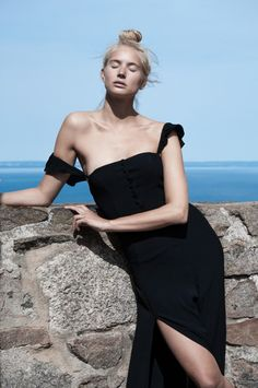 Black maxi dress with thigh slight from Flynn Skye's Fall Collection