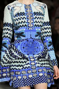 Vivid blue digital print dress with mixed photographic prints & bead embellished patterns for added texture // Mary Katrantzou