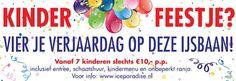 Schaatsfeestje op IJsbaan Ice Paradise in Leidschendam inclusief schaatshuur, kindermenu en ranja € 10 per kind.