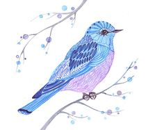 bird art painting blue bird print size 10x8 by TevaGallery on Etsy, $17.00