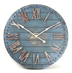 fabulous rustic clock.. its big, solid with distressed metal numbers.. more on the blog.