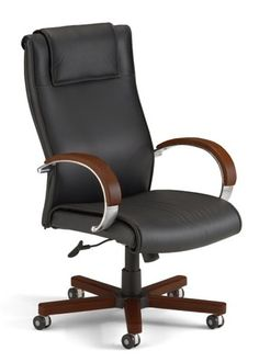 OFM High Back Leather Executive Chair with Wood Accents