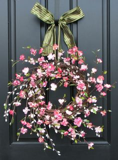 Cherry Blossoms Wreath - Blossoms and Willows Wreath - Spring Wreath - Pussy Willows. $80.00, via Etsy.