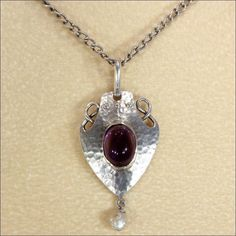 Antique Arts & Crafts Amethyst and Silver Pendant Necklace by Murrle Bennett & Co.