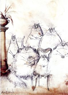 """'Family Portrait', Ronald Searle. We had a book called """"Searle's Cats"""" when I was growing up. I've always loved his drawings."""