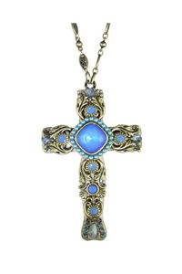 "Oceanic Swarovski® Crystal Large 3"" Cross Necklace - The brilliant blue crystals conjure images of the still inviting waters of the ocean."