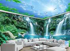 Long Waterfall Mountain Blue Sky Mountain Entire Room Wallpaper Wall Mural Art Decor is part of Room wallpaper Superior Quality and Striking Color Natural, Environmental and Br - Room Wallpaper Designs, 3d Wallpaper Living Room, Wallpaper Ceiling, 3d Wallpaper For Walls, Ceiling Murals, 3d Wall Murals, Floor Murals, Floor Wallpaper, Home Wallpaper