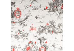 Beutiful Toile de Jouy with a modern touch, a second screen of color. Fabric Wallpaper, Pattern Wallpaper, Pattern Paper, Pattern Art, Surface Art, Surface Design, Illustration Story, Illustrations, Tropical