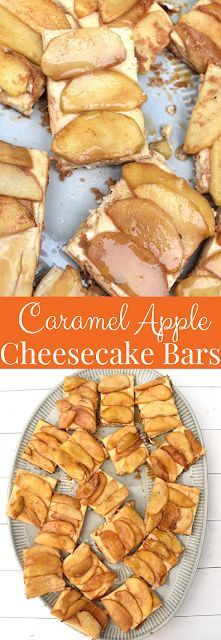 Caramel Apple Cheesecake Bars have a graham cracker crust, creamy cheesecake layer, sauteed cinnamon apples and a drizzle of caramel sauce. Made healthier with Greek yogurt, less sugar and whole-wheat flour! www.nutritionistreviews.com #caramel #apple #apples #cheesecake #dessert #healthydessert #appledessert
