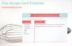 Free Recipe card template, you can type in your recipe in Microsoft Word