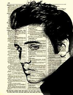 Elvis Dictionary Art Print, Dark Elvis Presley Art, Wall Decor, Dictionary Page… Pop Art, Rock Poster, Newspaper Art, Elvis Presley Photos, Dictionary Art, Arte Pop, Art Graphique, Collage Art, Rock And Roll