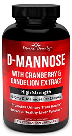 DMannose Capsules  600mg D Mannose Powder per Capsule with Cranberry and Dandelion Extract for Natural Urinary Tract Infection and UTI Support  120 Veggie Capsules