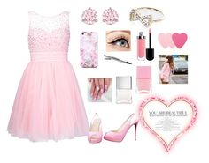 """""""Pink prom"""" by princessm2004 ❤ liked on Polyvore featuring Swarovski, Free People, Luminess Air, River Island, Christian Louboutin, Sephora Collection, Nails Inc., Prom, Pink and littlemix"""