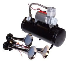 Triple Train or Truck Air Horns 120 PSI All-in-one Air System Triple Air Horn, 150.2 dB. 120 PSIAll-in-one Air System. Pressure switch (90 PSI on, 120 PSI off), air pressure gauge, and air fittings pre-installed. Air tube, horn button & mounting hardware included.  #Automotive_Parts_and_Accessories