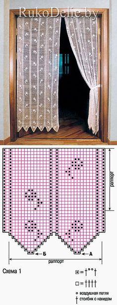 El juego de los visillos cumplidos de filete viscosos:: del Visillo y la cortina:: la Labor de punto por el gancho:: RukoDelie.by // Ольга Шелепова Crochet Curtain Pattern, Crochet Curtains, Curtain Patterns, Lace Curtains, Crochet Doilies, Crochet Lace, Crochet Chart, Thread Crochet, Crochet Stitches