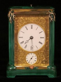 French carriage clock almost entirely covered in Malachite. http://www.edenbridgegalleries.com/antiques/d/a-french-carriage-clock-almost-completely-covered-with-solid-malachite/123163