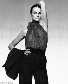 Jean Shrimpton in Yves Saint Laurent - American Vogue, David Bailey. Seventies Fashion, 70s Fashion, Timeless Fashion, Fashion Models, Vintage Fashion, Jean Shrimpton, Swinging London, Natalia Vodianova, Cindy Crawford