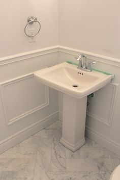 DIY Wainscoting - Powder room makeover using trim from Home Depot!  Frou Frou & Frills