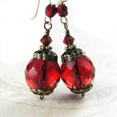 Carmine Red Earrings 14K Gold Fill Scarlet Red by DorotaJewelry, $24.00