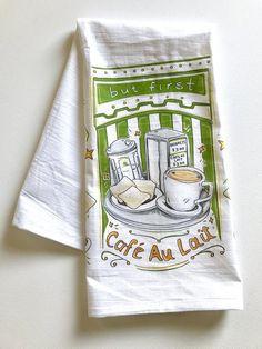 But First Cafe Au Lait Tea Towel, New Orleans Art, Beignets, Cafe Au Lait, French Quarter, Louisiana, Kitchen Decor, Home Malone Towel, NOLA Linen Towels, Flour Sack Towels, Tea Towels, Beignets, One Cafe, New Orleans Art, Decoration, Louisiana, Corner