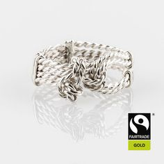 Handmade hand twisted knot rope ring with unusual knot design. Made in Nottingham, UK Rope Jewelry, Bespoke Jewellery, The Row, Knots, Nottingham Uk, White Gold, Wedding Rings, Rose Gold, Engagement Rings