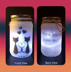 Valentines Cats Night light mood lighting Fairy Jar by TheGiftPage