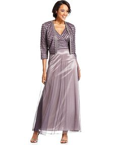 Patra Dress and Jacket, Sleeveless Empire Waist Evening Gown ...