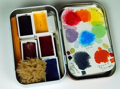 altoid tin watercolor palette with tiny tools