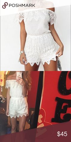 Sabo Skirt Playsuit White lace, strapless playsuit size XS. Practically brand new, worn once. PERFECT condition. Sabo Skirt Dresses Strapless