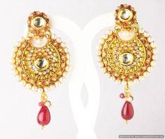Indian Bollywood Designer Fashion Jewelry Stylish Pearl Surronded Earrings Set #Handmade #DropDangle