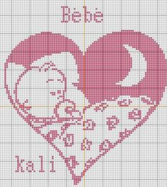Une petite grille coeur Bébé pour une naissance ou autre ... a partir d un dessin sur le net ... la grille LA le coloris a votre choix Bonne soirée Gros bisous