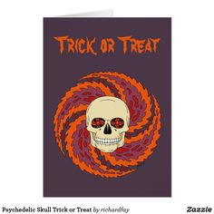 Psychedelic Skull Trick or Treat Card