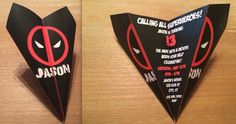 Custom Deadpool Paper Airplane Invitation - Personalize Font, Verbiage, Colors & More! Perfect for Birthdays, Showers, Announcements, Etc!