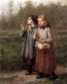 Youth - Two Girls With A Posy,George Henry Boughton (1833 – 1905)