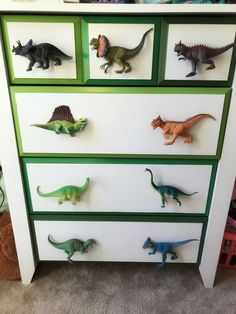 I'm so happy with how this dresser transformation turned out. Our little guy is obsessed with all things dinosaur and GREEN! Room Makeover Our… Boys Dinosaur Bedroom, Dinosaur Kids Room, Dinosaur Room Decor, Kids Bedroom, Bedroom Decor, Dinosaur Dinosaur, Dinosaur Nursery, Dinosaur Bedding, Trendy Bedroom