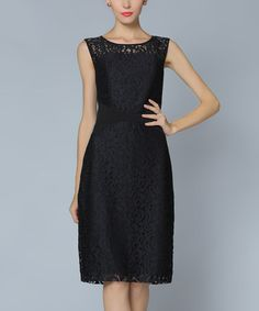 Another great find on #zulily! Black Lace Overlay Sheath Dress #zulilyfinds