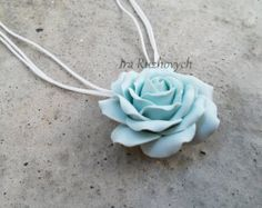 Pendant necklace Blue flower Dark blue rose pendant by ClayAndChic