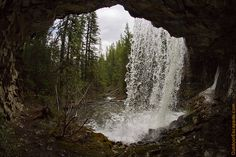 Troll Falls and the secret waterfalls near Kananaskis Village - View from behind the second waterfall Distance: 3 Km Time: Hours Type: Easy Places To Travel, Places To See, Canadian Travel, Canadian Rockies, Johnston Canyon, Hiking Trails, The Great Outdoors, Beautiful Places, Scenery